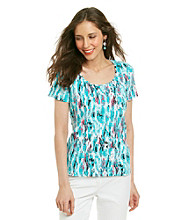 Laura Ashley Painted Animal Scoop Neck Tee