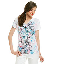 Laura Ashley® Scroll Sublimation Drapeneck Top
