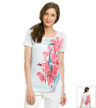 Laura Ashley® Floral Sublimation Smocked Hem Top