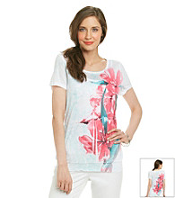 Laura Ashley® Petites' Floral Sublimation Smocked Hem Top