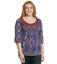 Oneworld Plus Size Sequined Printed Top