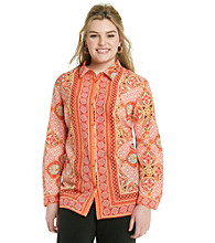 Rafaella® Plus Size Woven Button Up Scarf Print Shirt