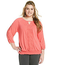 Rafaella® Plus Size Mixed Crochet Top