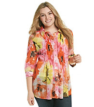 Fever™ Plus Size Blooming Blossoms Printed Shirt