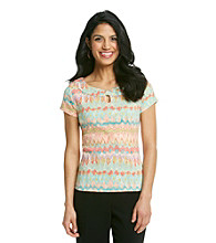 Rafaella® Petites' Watercolor Keyhole Neck Top