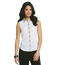 Calvin Klein Petites' Buttondown Woven Blouse
