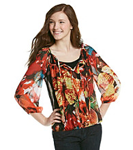 XOXO® Juniors' Floral Print Peasant Top