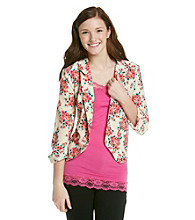 Sequin Hearts® Juniors' Floral Print Jacket