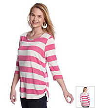 Eyeshadow® Juniors' Plus Size Striped Crochet Back Tee