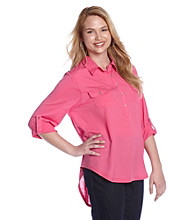 Eyeshadow® Juniors' Plus Size Knit-To-Woven Henley