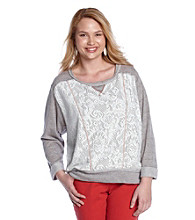 Fresh Brewed Juniors' Plus Size Lace Front French Terry Pullover