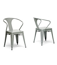 Baxton Studios Set of 2 Gray French Industrial Modern Dining Chairs