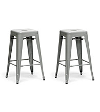Baxton Studios Set of 2 Gray French Industrial Modern Counters Stools