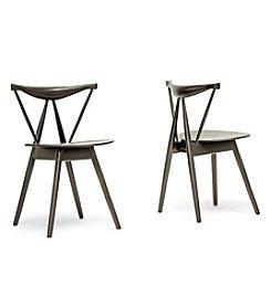 Baxton Studios Set of 2 Mercer Brown Wood Modern Dining Chairs