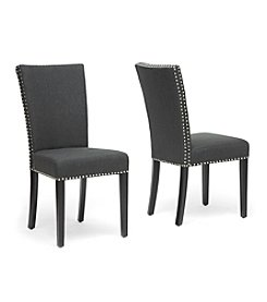 Baxton Studios Set of 2 Harrowgate Dark Gray Linen Modern Dining Chairs