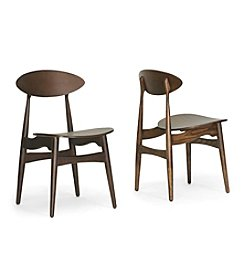 Baxton Studios Set of 2 Ophion Brown Wood Modern Dining Chairs