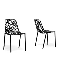 Baxton Studios Set of 2 Demeter Black Metal Modern Dining Chairs