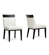 Baxton Studios Set of 2 Clymene Black Wood and Cream Leather Modern Dining Chairs