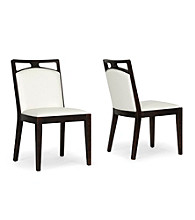 Baxton Studios Set of 2 Pontus Brown Wood and Cream Leather Modern Dining Chairs