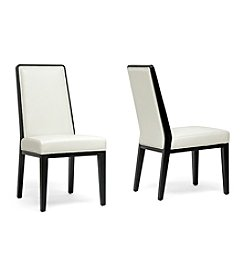Baxton Studios Set of 2 Theia Black Wood and Cream Leather Modern Dining Chairs