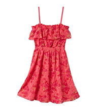 Jessica Simpson Girls' 7-16 Pink Java Prairie Floral Lace Ruffle Top Dress