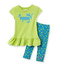 PUMA® Girls' 2T-4T Green/Aqua Heart Print Tunic and Capris Set