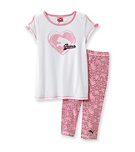 PUMA® Girls' 2T-6X Heart Print Cold Shoulder Set