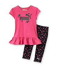 PUMA® Girls' 2T-4T Pink/Black Heart Print Tunic and Capris Set