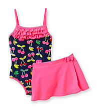 Carter's® Girls' 4-6X Navy 1-pc. Cherry Print Swimsuit with Skirt