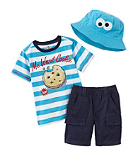 Nannette® Boys' 12M-4T Navy 3-pc. Cookie Monster Short Set with Hat