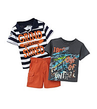 Nannette® Boys' 2T-7 Orange/Grey 3-pc. SK8 Park Polo Short Set