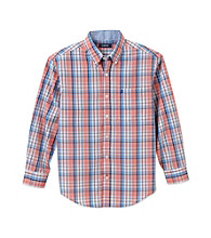 Izod® Boys' 8-20 Red Long Sleeve Plaid Woven Shirt