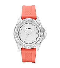 Fossil® Women's Retro Traveler Coral/Silvertone Watch