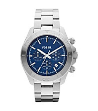 Fossil® Men's Retro Traveler Silvertone Chronograph Watch