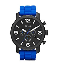 Fossil® Men's Nate Blue Silicone Watch