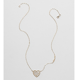 "10K Yellow Gold Filigree Heart ""Love"" Necklace"