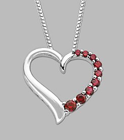 Lab Created Ruby Heart Pendant in Sterling Silver