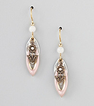 Silver Forest® Two-Tone Floral Charm Drop Earrings