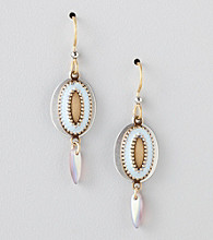 Silver Forest® Two-Tone Blue Beaded Oval Drop Earrings
