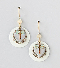 Silver Forest® Green Patina Dragonfly Earrings
