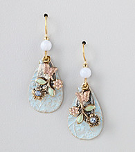 Silver Forest® Blue Floral Swag Earrings