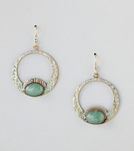 Silver Forest® Green Hoop Drop Earrings With Adventurine
