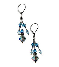 Napier® Silvertone Blue Shaky Drop Pierced Earrings