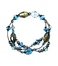 Napier® Silvertone Blue Multi Row Stretch Bracelet