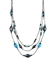 Napier® Silvertone Blue Multi-Row Collar Necklace