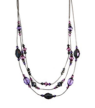 Napier® Silvertone and Purple Multi Collar Necklace