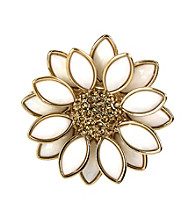 Napier® Boxed Goldtone White Flower Pin