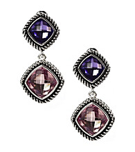 Napier® Silvertone Purple Multi Double Drop Clip Earrings