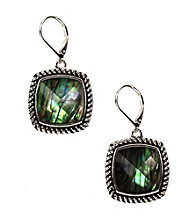 Napier® Silvertone Iridescent Square Drop Earrings
