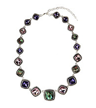 Napier® Silvertone Simulated Crystal and Shell Necklace